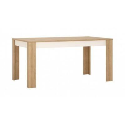 Étkezőasztal, nagyobbítható, 160x76,5 cm, fehér-tölgy - ARIZONA